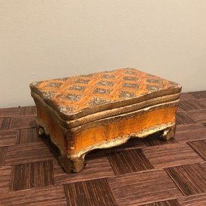 Vintage Gold/Orange Jewelry Storage Box